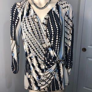 🌟CACHE- V-neck graphic vibrant blouse Medium